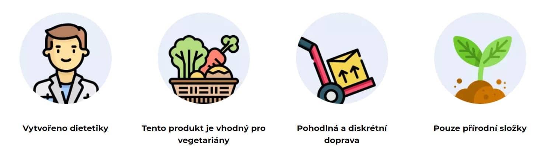 Vytvořeno dietetiky Tento produkt je vhodný pro vegetariány Pohodlná a diskrétní doprava Pouze přírodní složky